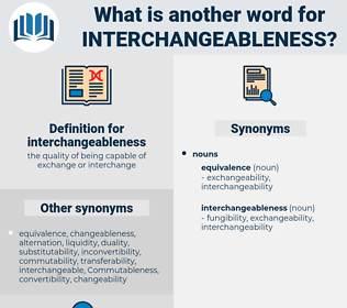 interchangeableness, synonym interchangeableness, another word for interchangeableness, words like interchangeableness, thesaurus interchangeableness