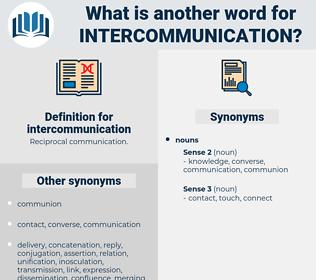 intercommunication, synonym intercommunication, another word for intercommunication, words like intercommunication, thesaurus intercommunication