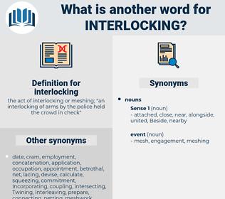 interlocking, synonym interlocking, another word for interlocking, words like interlocking, thesaurus interlocking