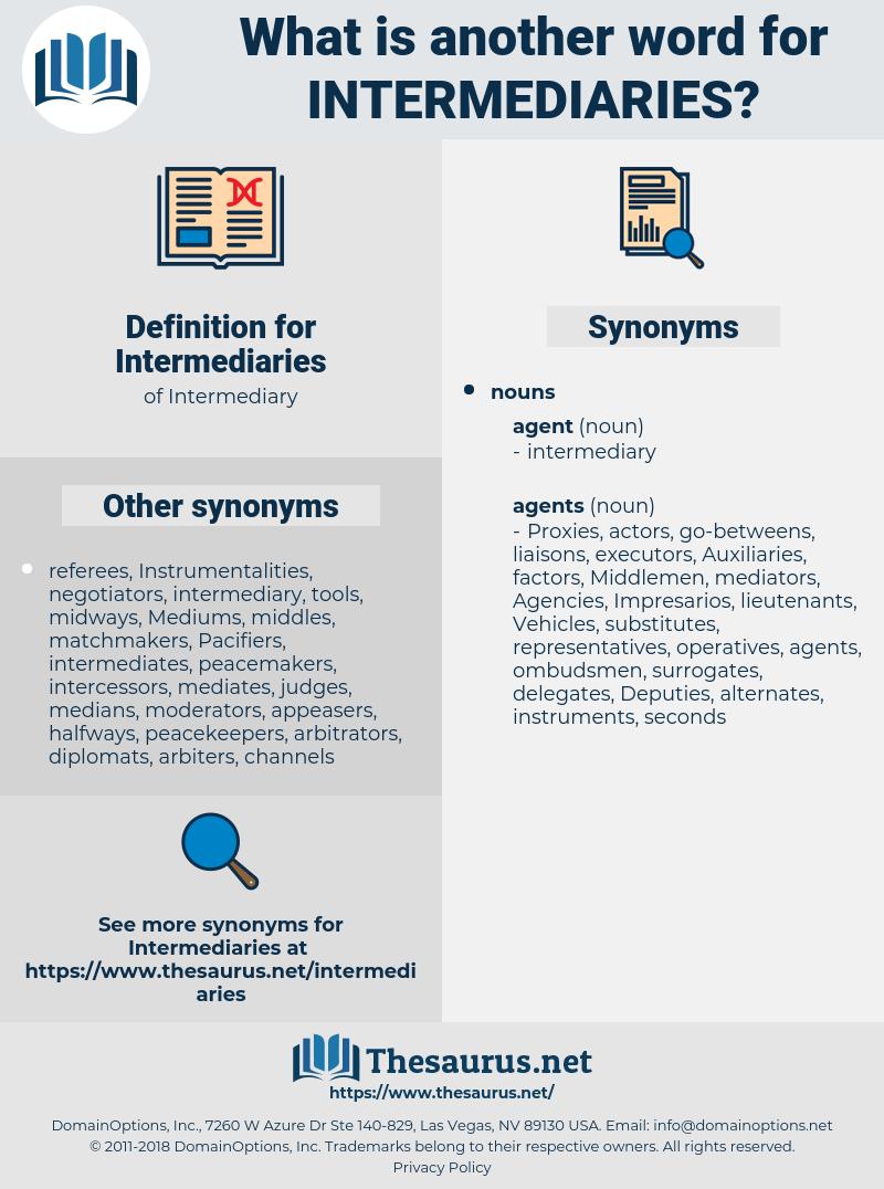 Intermediaries, synonym Intermediaries, another word for Intermediaries, words like Intermediaries, thesaurus Intermediaries