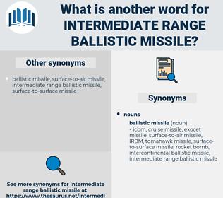 intermediate range ballistic missile, synonym intermediate range ballistic missile, another word for intermediate range ballistic missile, words like intermediate range ballistic missile, thesaurus intermediate range ballistic missile