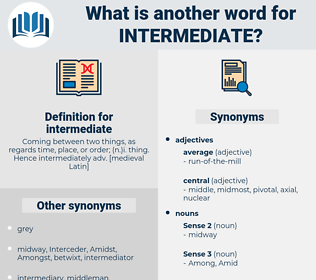 intermediate, synonym intermediate, another word for intermediate, words like intermediate, thesaurus intermediate