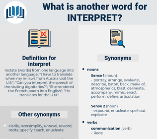 Synonyms For Interpret Thesaurus Net Find another word for interpret. synonyms for interpret thesaurus net