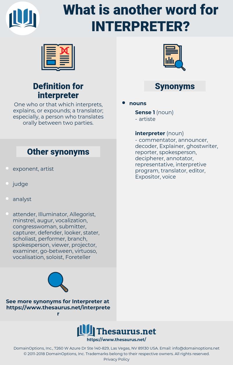 interpreter, synonym interpreter, another word for interpreter, words like interpreter, thesaurus interpreter