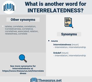 interrelatedness, synonym interrelatedness, another word for interrelatedness, words like interrelatedness, thesaurus interrelatedness