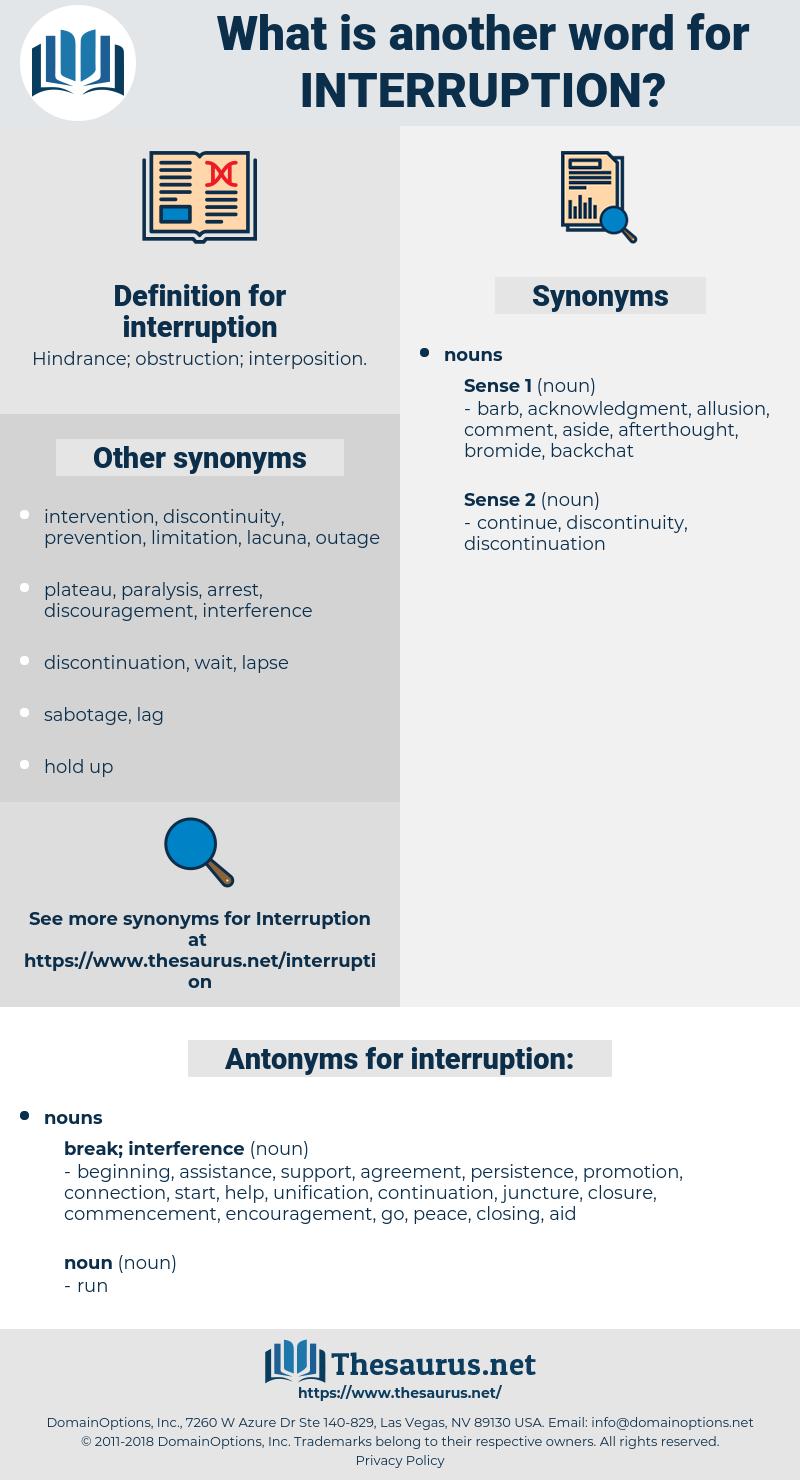interruption, synonym interruption, another word for interruption, words like interruption, thesaurus interruption