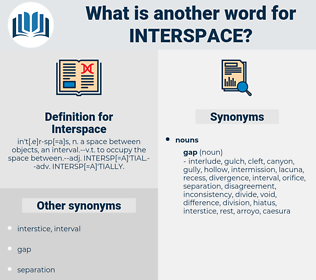 Interspace, synonym Interspace, another word for Interspace, words like Interspace, thesaurus Interspace