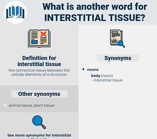 interstitial tissue, synonym interstitial tissue, another word for interstitial tissue, words like interstitial tissue, thesaurus interstitial tissue