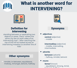 intervening, synonym intervening, another word for intervening, words like intervening, thesaurus intervening