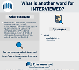 interviewed, synonym interviewed, another word for interviewed, words like interviewed, thesaurus interviewed