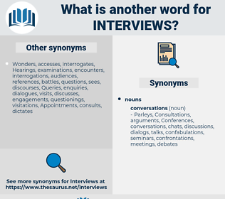 Interviews, synonym Interviews, another word for Interviews, words like Interviews, thesaurus Interviews