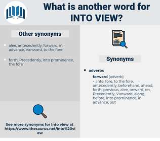 into view, synonym into view, another word for into view, words like into view, thesaurus into view