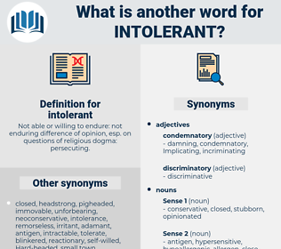 intolerant, synonym intolerant, another word for intolerant, words like intolerant, thesaurus intolerant