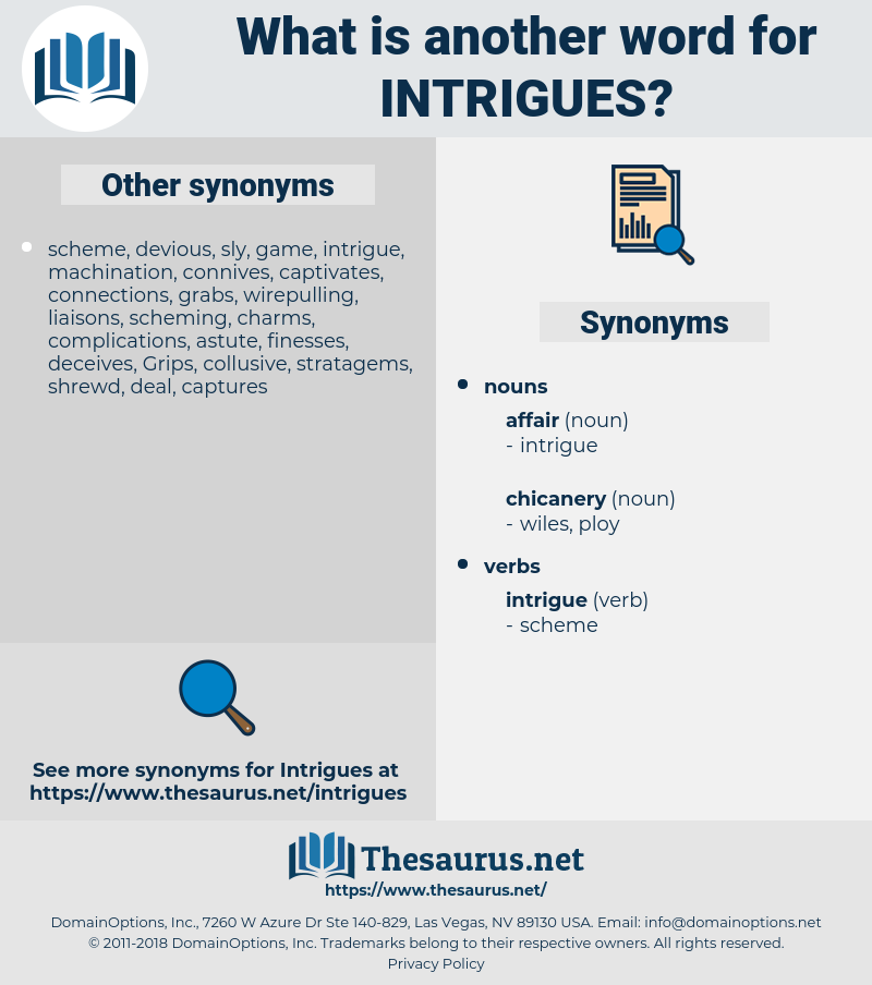 intrigues, synonym intrigues, another word for intrigues, words like intrigues, thesaurus intrigues