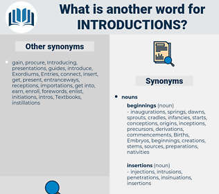 introductions, synonym introductions, another word for introductions, words like introductions, thesaurus introductions