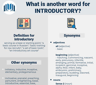 introductory, synonym introductory, another word for introductory, words like introductory, thesaurus introductory