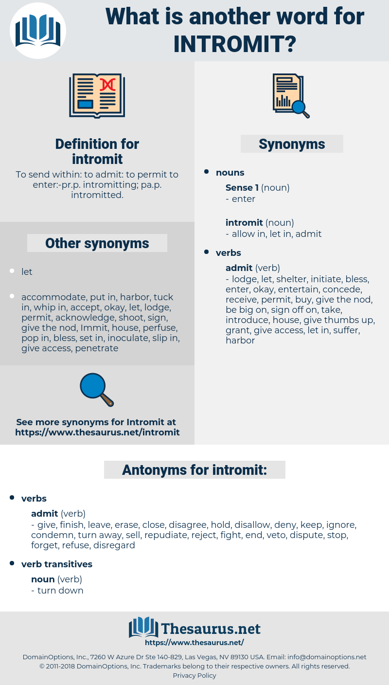 intromit, synonym intromit, another word for intromit, words like intromit, thesaurus intromit