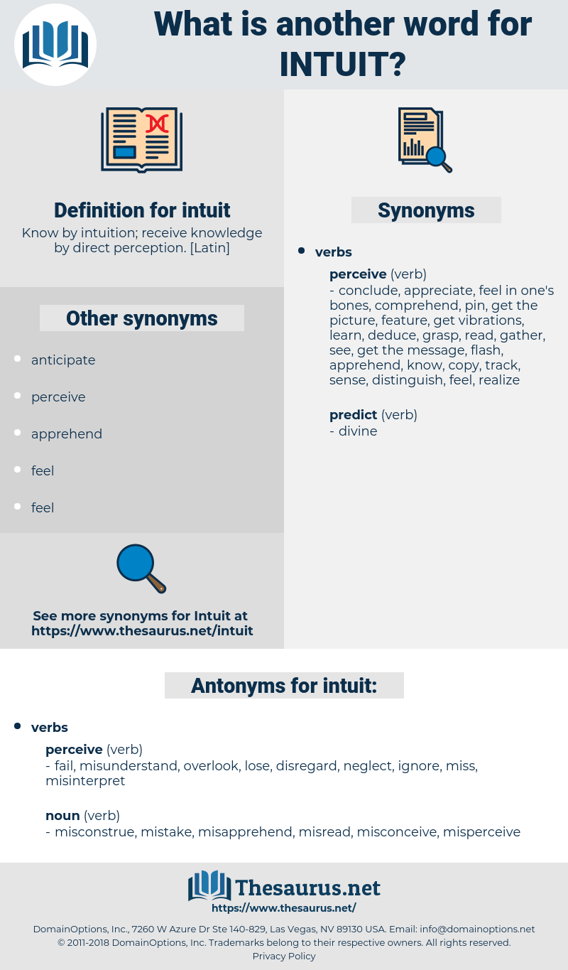 intuit, synonym intuit, another word for intuit, words like intuit, thesaurus intuit