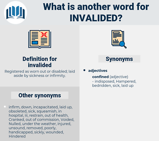 invalided, synonym invalided, another word for invalided, words like invalided, thesaurus invalided