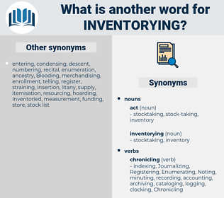 inventorying, synonym inventorying, another word for inventorying, words like inventorying, thesaurus inventorying