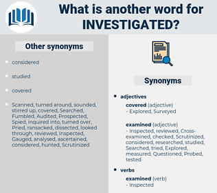 Investigated, synonym Investigated, another word for Investigated, words like Investigated, thesaurus Investigated