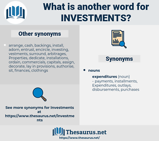 Investments, synonym Investments, another word for Investments, words like Investments, thesaurus Investments