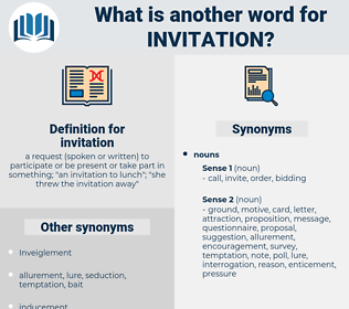 invitation, synonym invitation, another word for invitation, words like invitation, thesaurus invitation