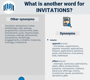invitations, synonym invitations, another word for invitations, words like invitations, thesaurus invitations