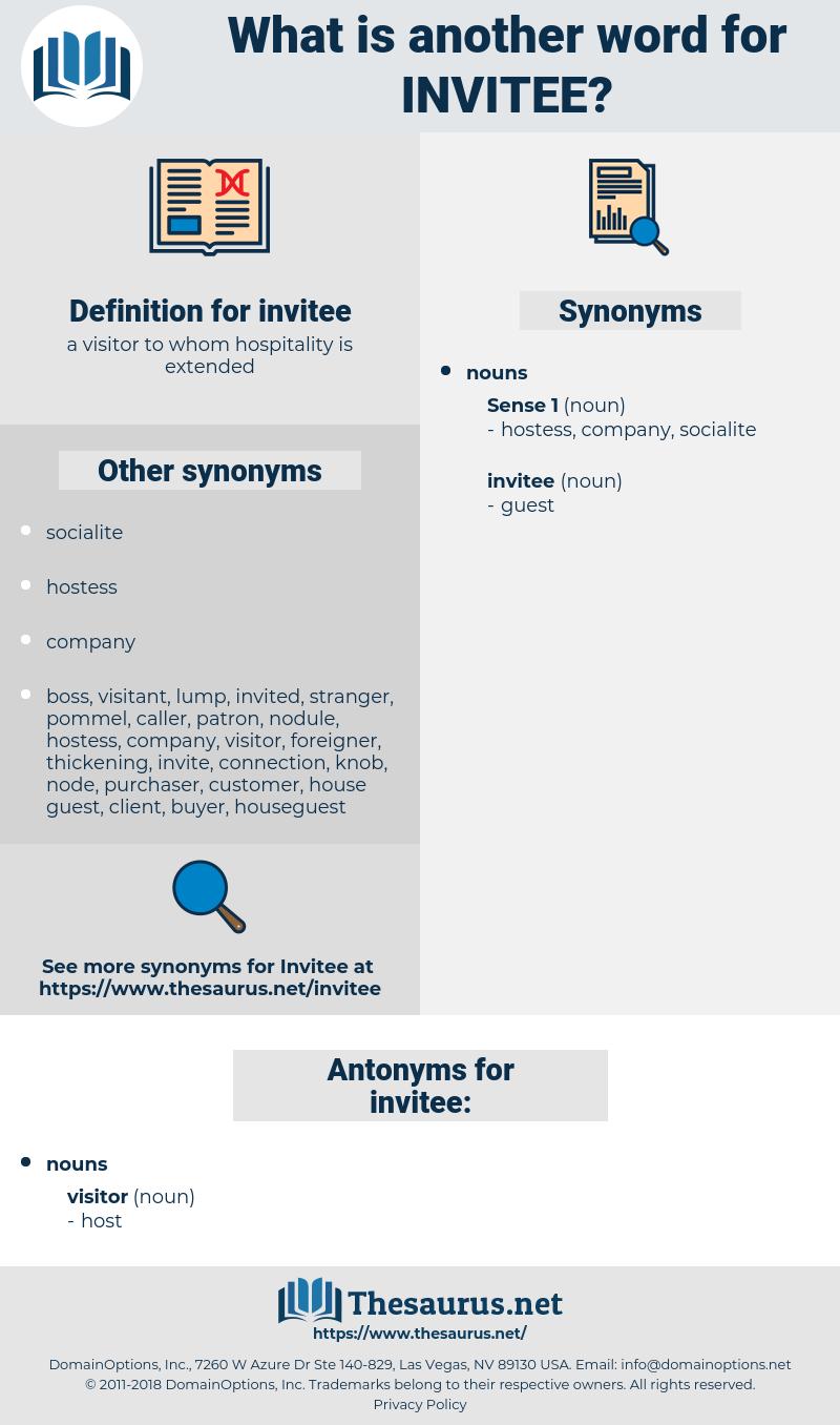 invitee, synonym invitee, another word for invitee, words like invitee, thesaurus invitee