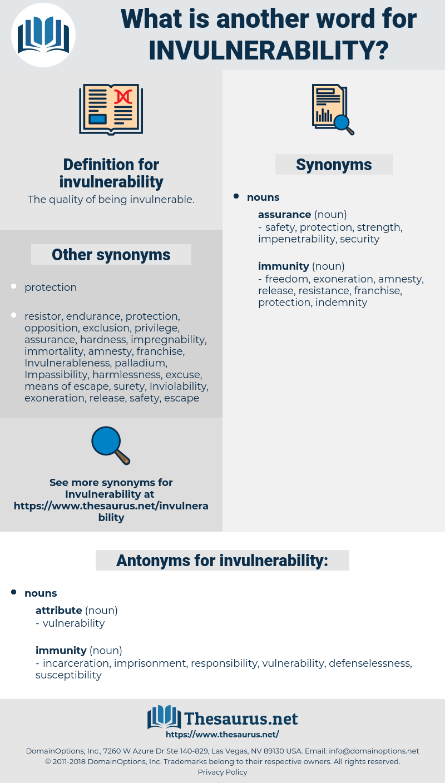 invulnerability, synonym invulnerability, another word for invulnerability, words like invulnerability, thesaurus invulnerability