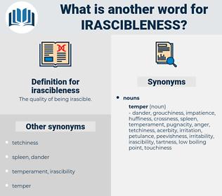 irascibleness, synonym irascibleness, another word for irascibleness, words like irascibleness, thesaurus irascibleness