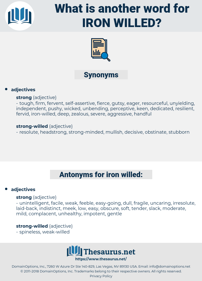 Synonyms for IRON-WILLED, Antonyms for IRON-WILLED