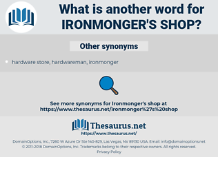 ironmonger's shop, synonym ironmonger's shop, another word for ironmonger's shop, words like ironmonger's shop, thesaurus ironmonger's shop