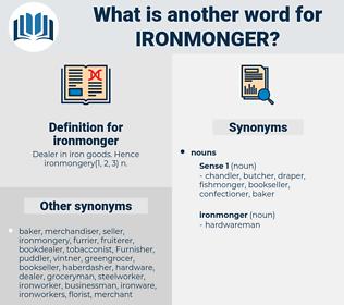 ironmonger, synonym ironmonger, another word for ironmonger, words like ironmonger, thesaurus ironmonger