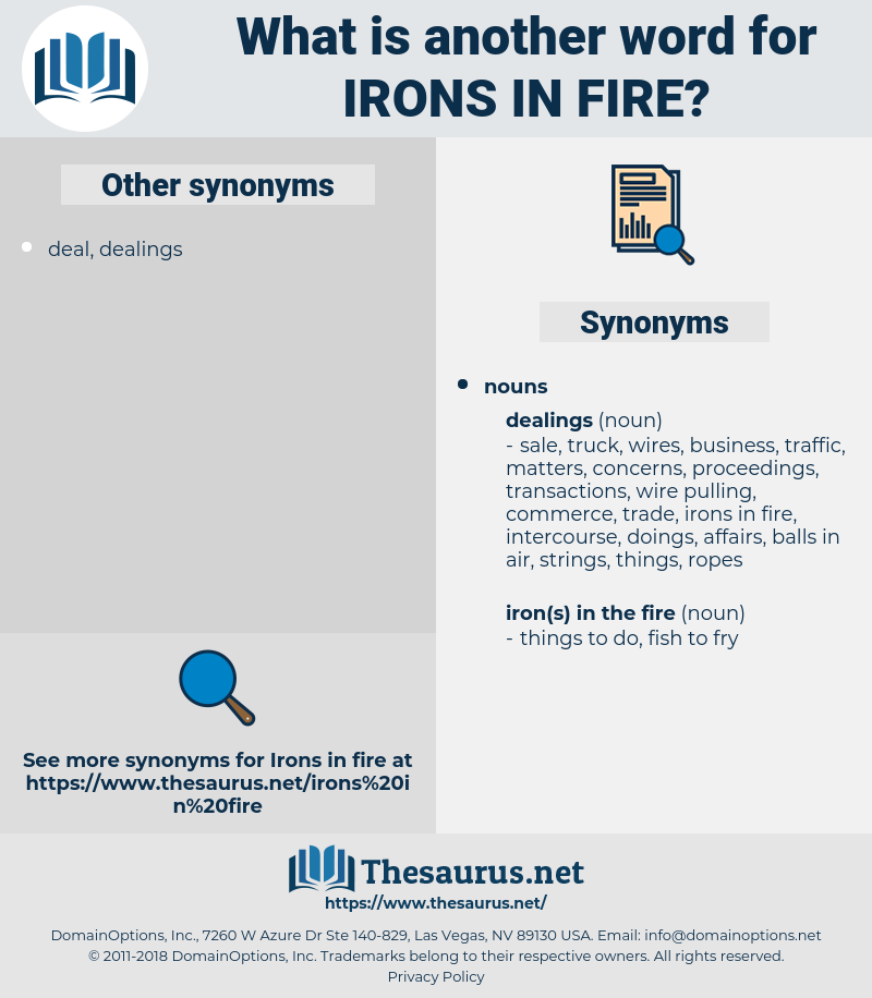 irons in fire, synonym irons in fire, another word for irons in fire, words like irons in fire, thesaurus irons in fire