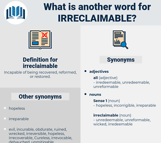 irreclaimable, synonym irreclaimable, another word for irreclaimable, words like irreclaimable, thesaurus irreclaimable
