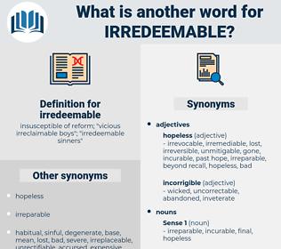 irredeemable, synonym irredeemable, another word for irredeemable, words like irredeemable, thesaurus irredeemable