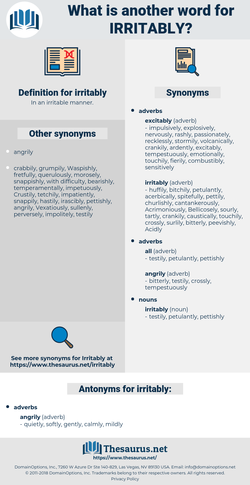 irritably, synonym irritably, another word for irritably, words like irritably, thesaurus irritably