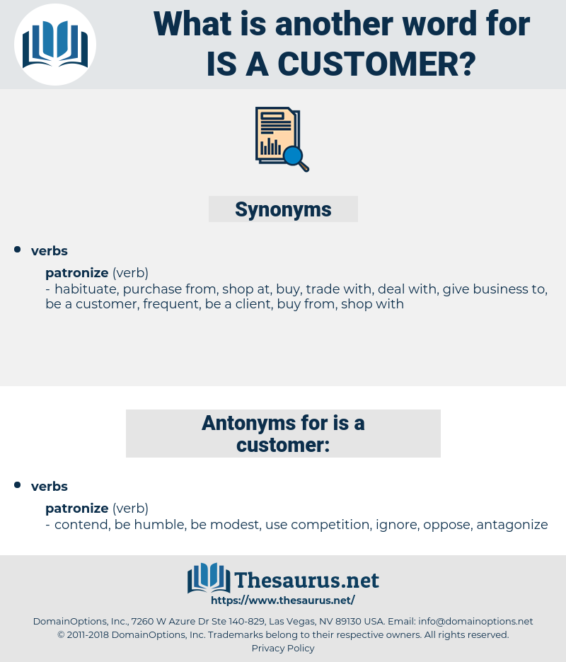 is a customer, synonym is a customer, another word for is a customer, words like is a customer, thesaurus is a customer