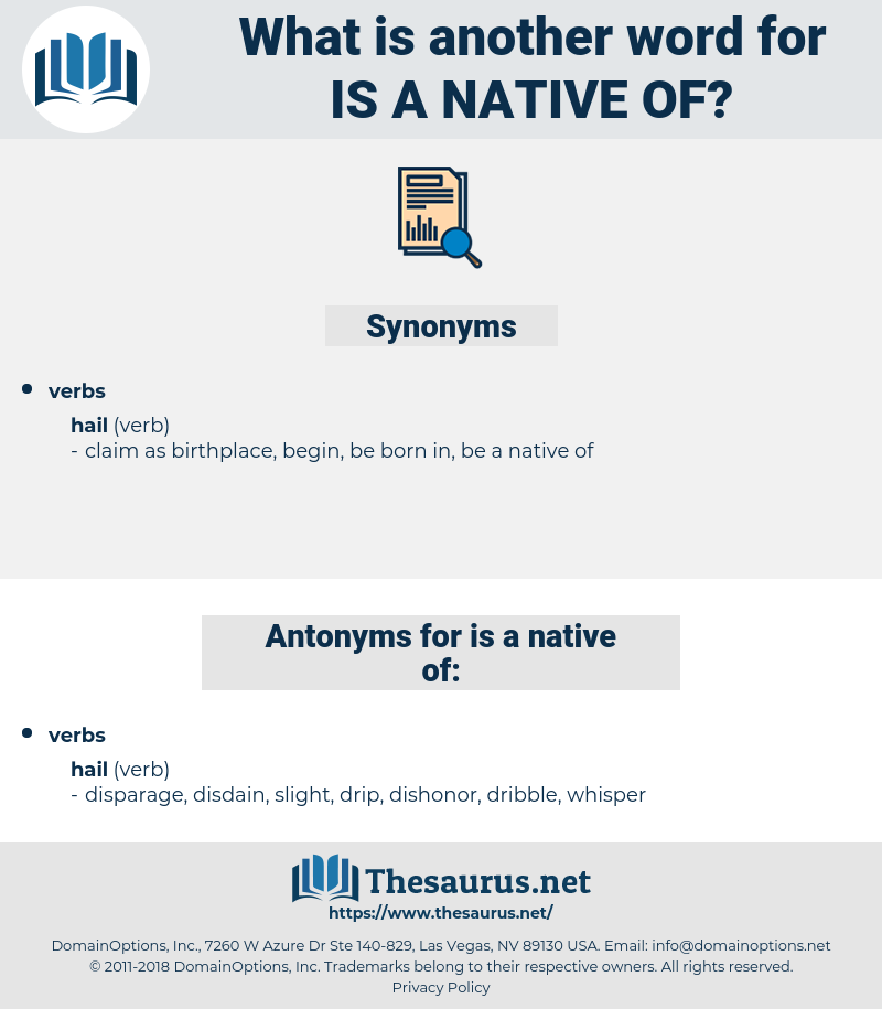 is a native of, synonym is a native of, another word for is a native of, words like is a native of, thesaurus is a native of