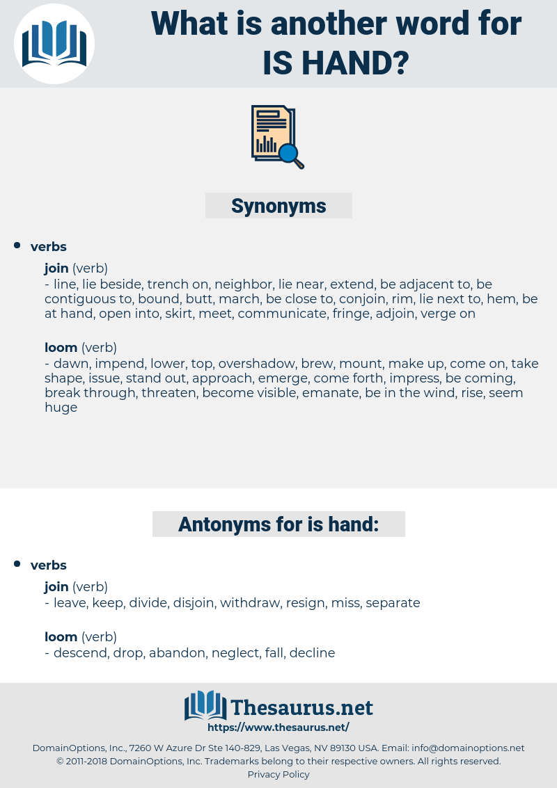 is hand, synonym is hand, another word for is hand, words like is hand, thesaurus is hand