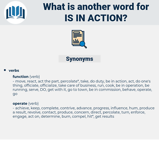 is in action, synonym is in action, another word for is in action, words like is in action, thesaurus is in action