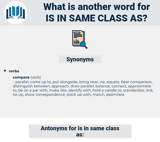 is in same class as, synonym is in same class as, another word for is in same class as, words like is in same class as, thesaurus is in same class as