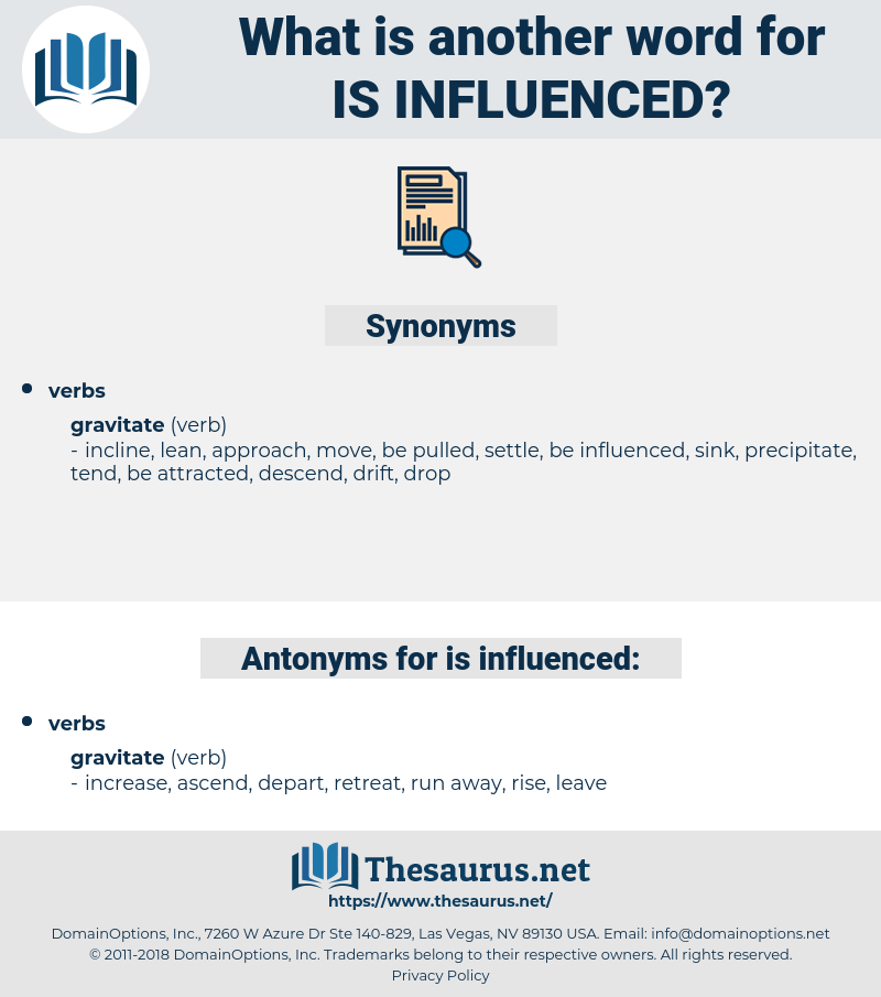 is influenced, synonym is influenced, another word for is influenced, words like is influenced, thesaurus is influenced