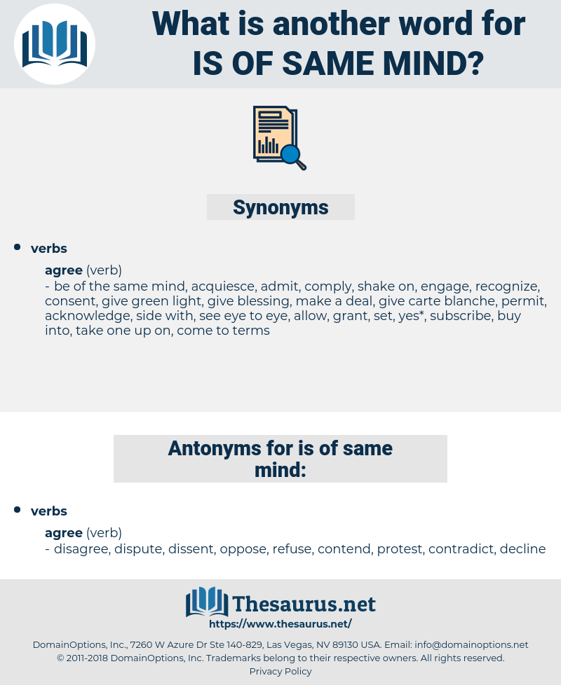 is of same mind, synonym is of same mind, another word for is of same mind, words like is of same mind, thesaurus is of same mind
