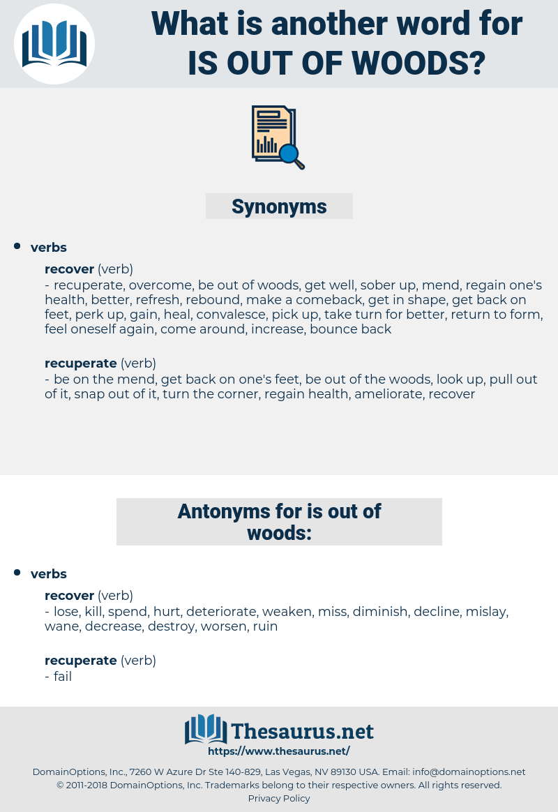 is out of woods, synonym is out of woods, another word for is out of woods, words like is out of woods, thesaurus is out of woods