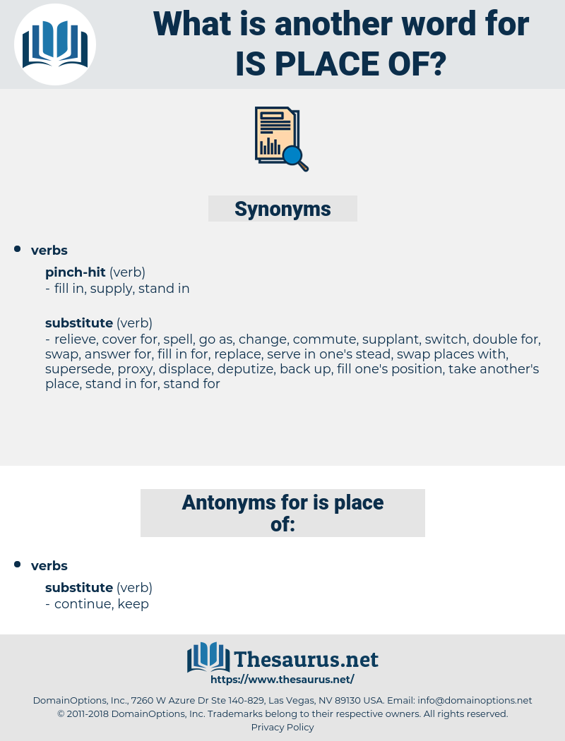 is place of, synonym is place of, another word for is place of, words like is place of, thesaurus is place of