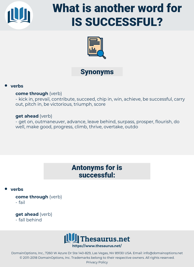 is successful, synonym is successful, another word for is successful, words like is successful, thesaurus is successful