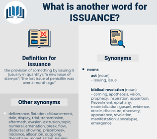 issuance, synonym issuance, another word for issuance, words like issuance, thesaurus issuance