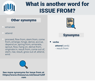 issue from, synonym issue from, another word for issue from, words like issue from, thesaurus issue from